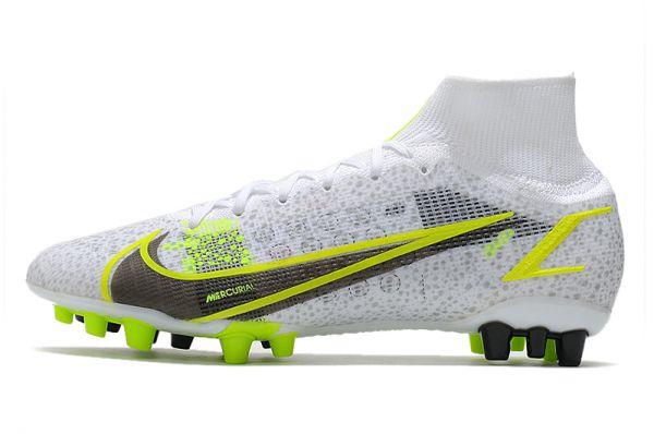 Kids Nike Mercurial Superfly 8 Elite AG-PRO 'SILVER SAFARI PACK' FG White Black Metallic Silver Volt