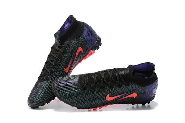 2021 Nike Mercurial Superfly 7 Elite TF Black/Fierce Purple/Metallic Silver