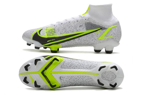 Kids Nike Mercurial Superfly VIII Elite FG Football Boots White/Black-Metallic Silver-Volt