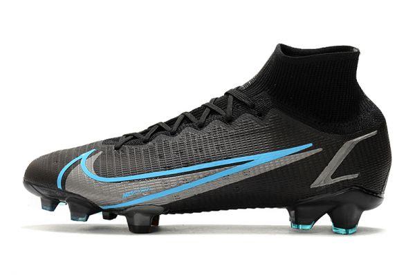 Kids Nike Mercurial Superfly 8 Elite FG Soccer Boots Black Iron Grey University Blue