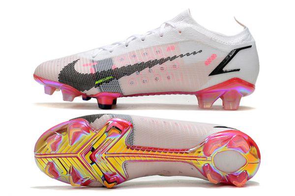 Kids Nike Mercurial Vapor 14 Elite FG Soccer Boots White Black  Bright Crimson  Pink Blast