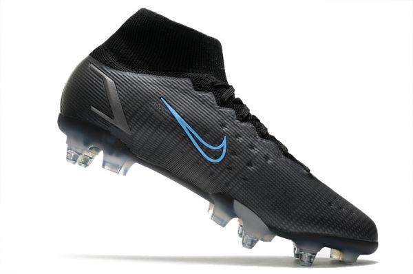 Nike Mercurial Superfly 8 Elite SG-PRO Soccer Boots Black Iron Grey University Blue