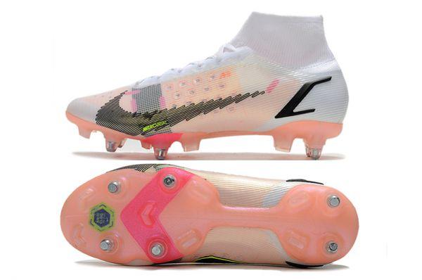 Nike Mercurial Superfly 8 Elite SG-PRO Soccer Boots White Black Bright Crimson Pink Blast